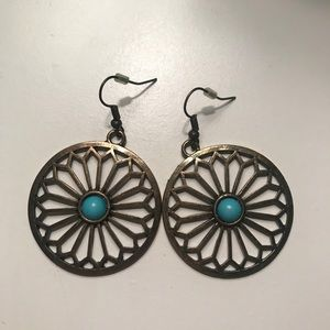 Bronze round dangly earrings